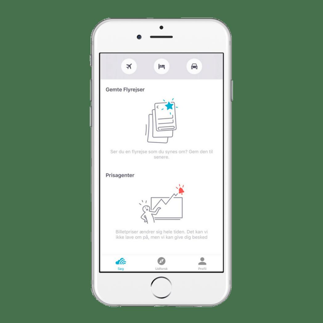 Sidste søgninger i Skyscanner app