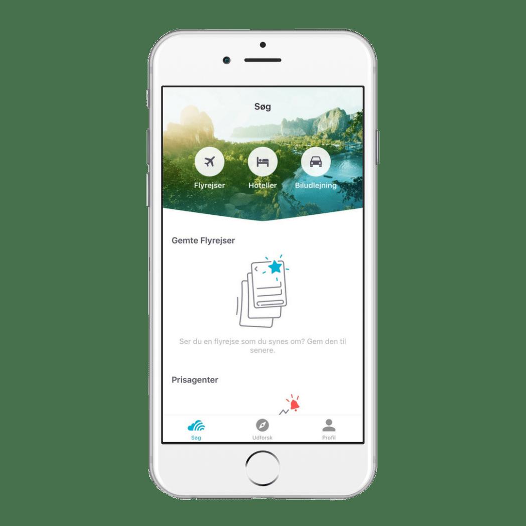 Skyscanner app - fly, hotel og billeje